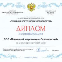 Диплом за шкурки норки коричневой — 20-й специализированный конкурс 2018-02